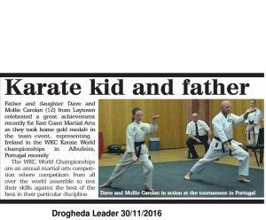 Sensei Brendan Donnelly's Students Take gold, newspaper report
