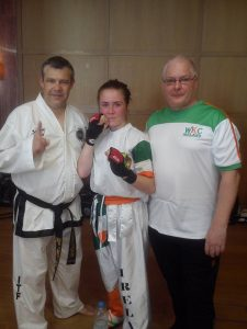 Robyn with Instructor Mark Enstone and Brendan Donnelly President WKC Ireland