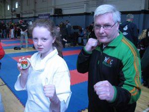 Mollie Carolan World Champion with Sensei Brendan Donnelly 8th Dan