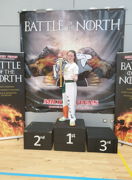 Brendan Donnelly's Student Mollie Carolan Holding a thropy she won at the Battle of the North April 13 2019